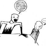 Cartoon man talking endlessly to another cartoon man who is completely overwhelmed.