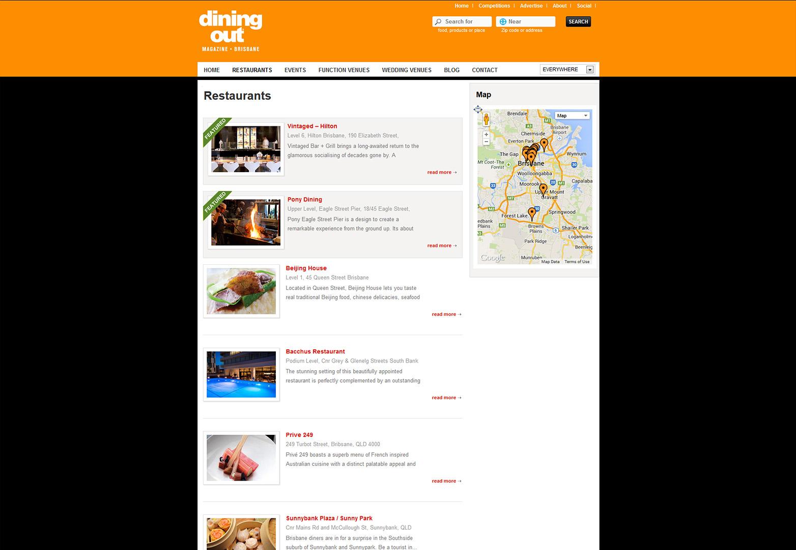Dining Out Magazine Brisbane's Restaurants page
