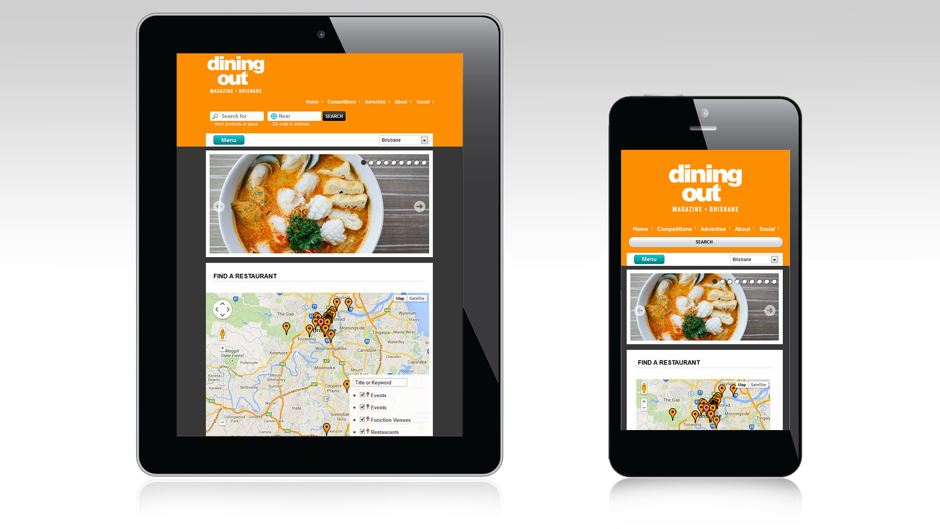 Responsive view presentation for Dining Out Magazine Brisbane
