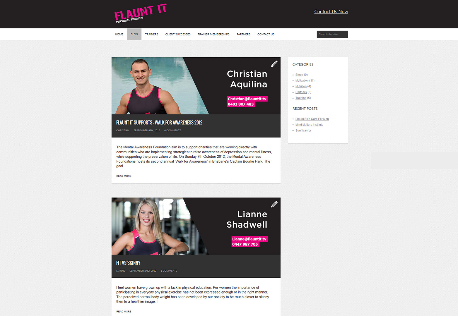 Flaunt It website blog page screenshot