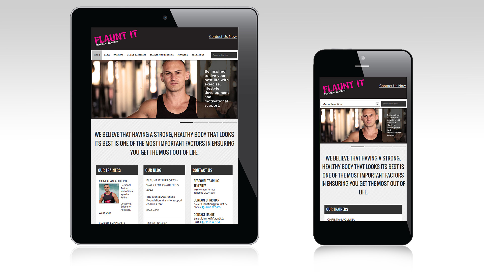 Flaunt It website responsive mobile and tablet views