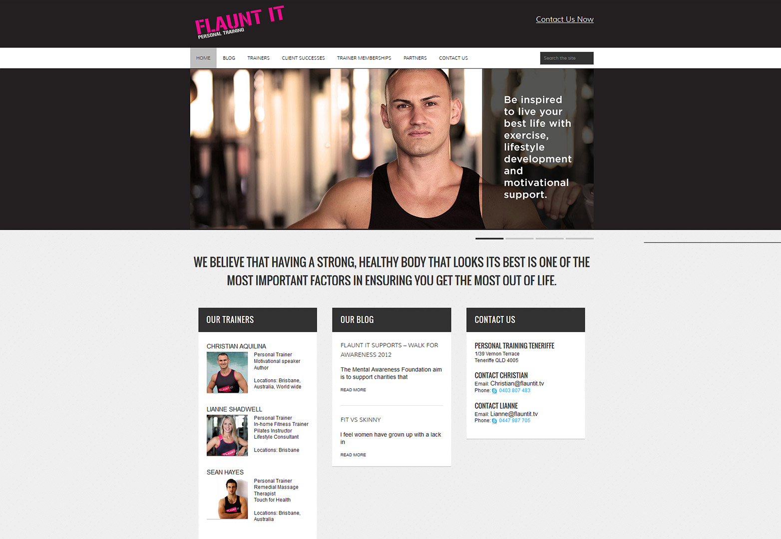 Flaunt It website screenshot of homepage