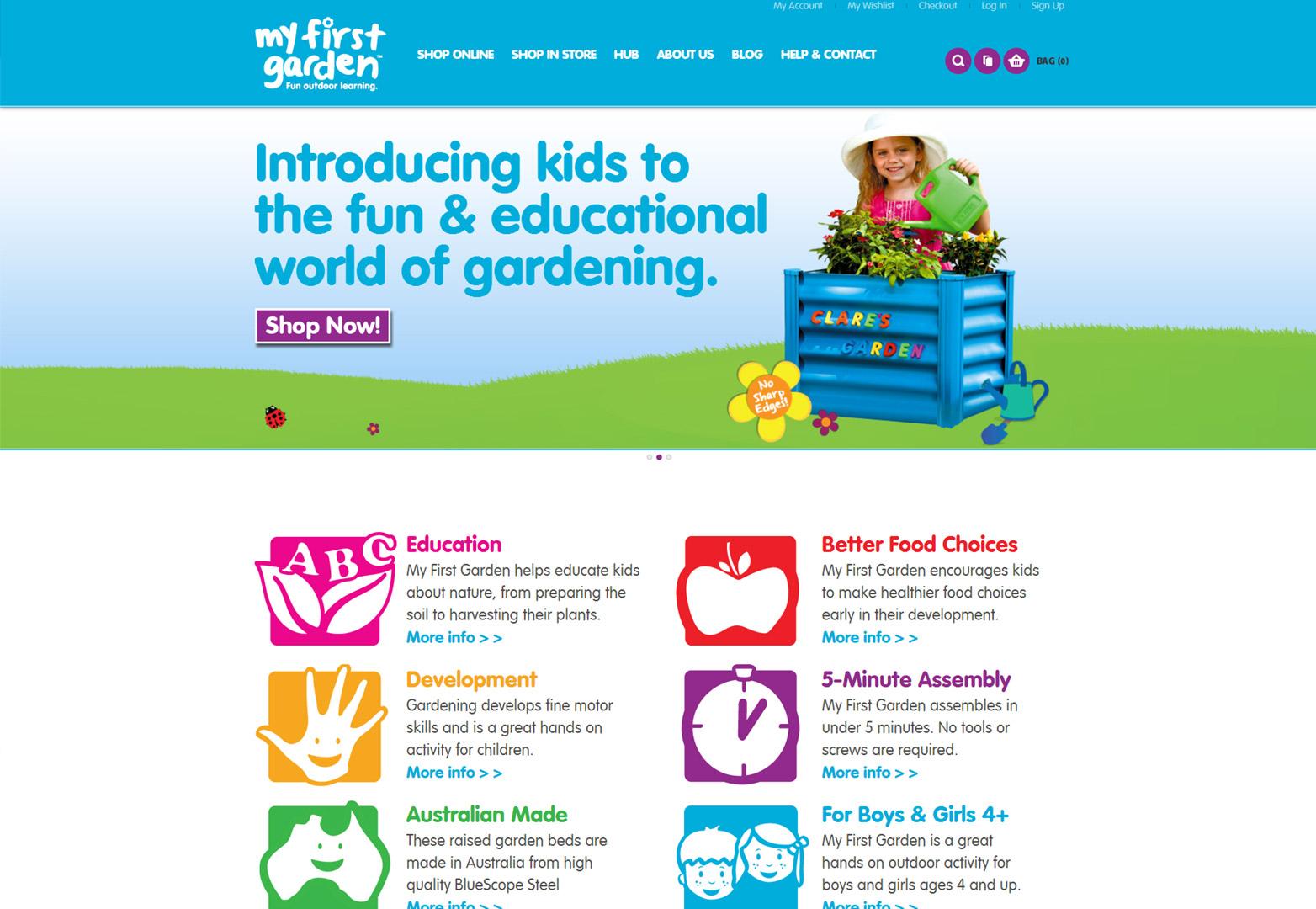 My First Garden homepage on desktop view
