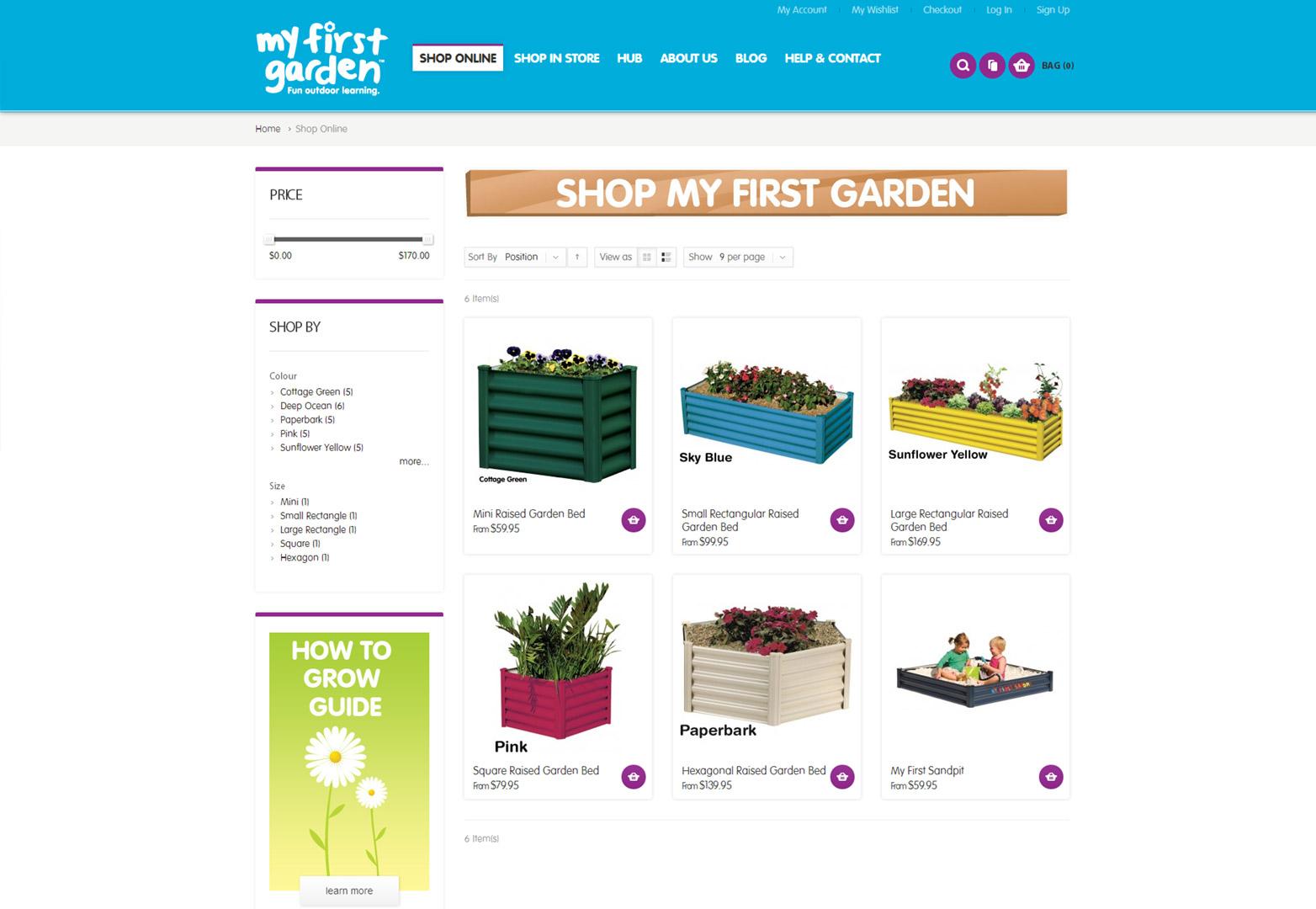 My First Garden shop online page