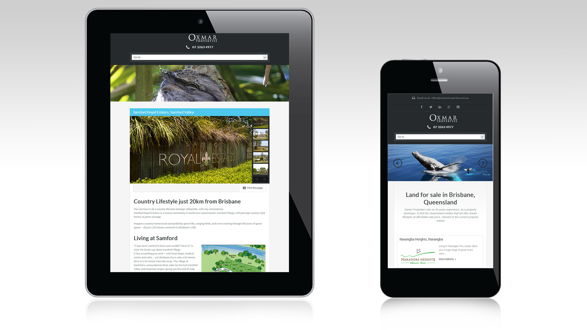 Oxmar responsive tablet and desktop views