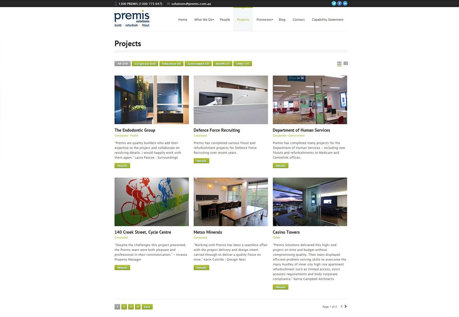 Premis Solutions Projects Page