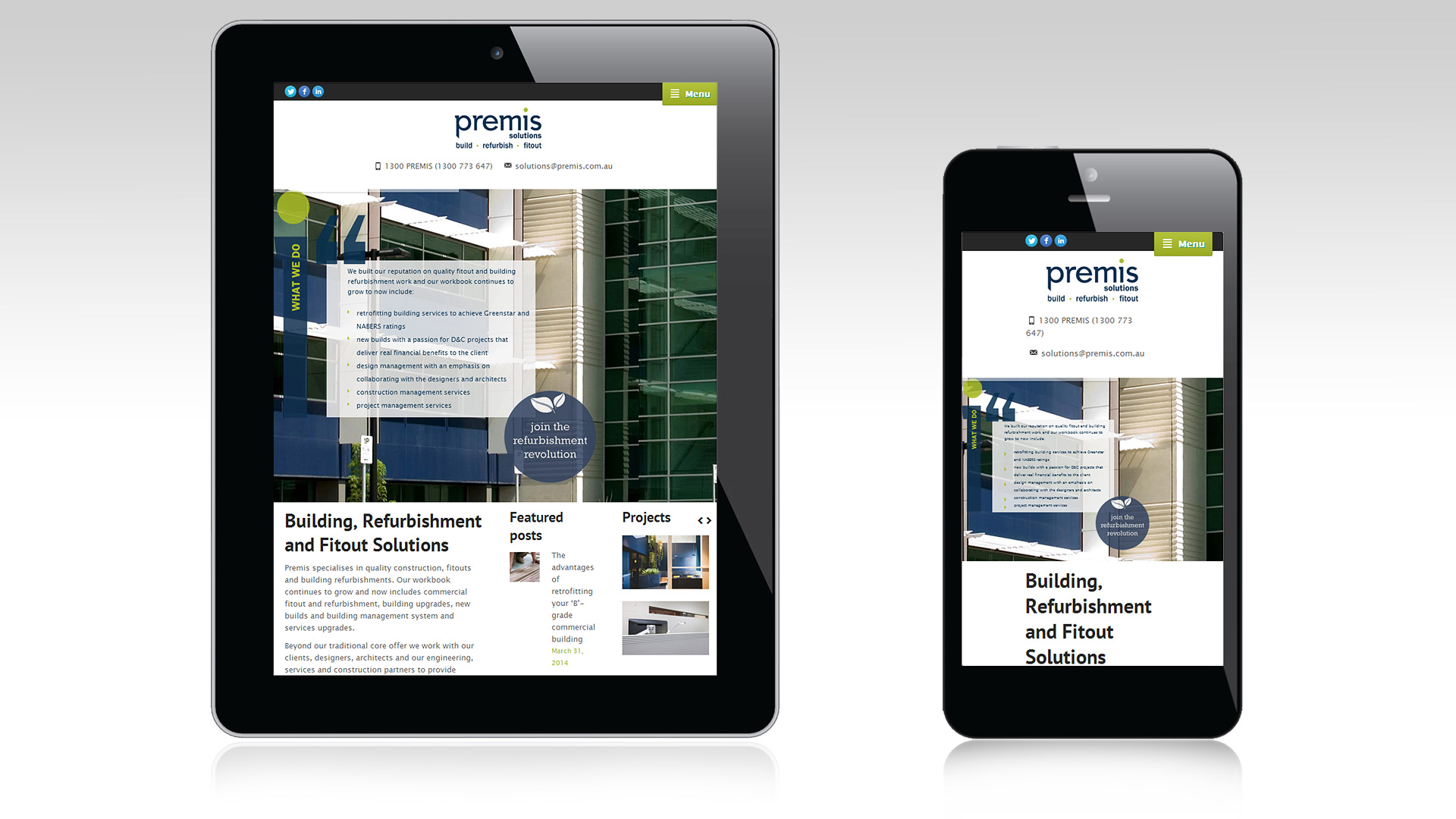 Premis responsive views for tablet and mobile