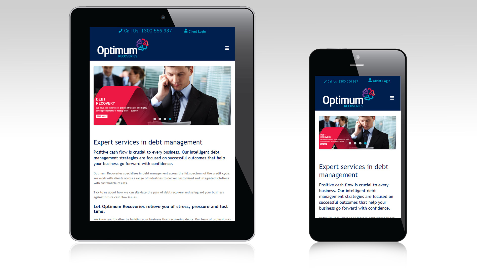 Optimum responsive tablet and mobile views