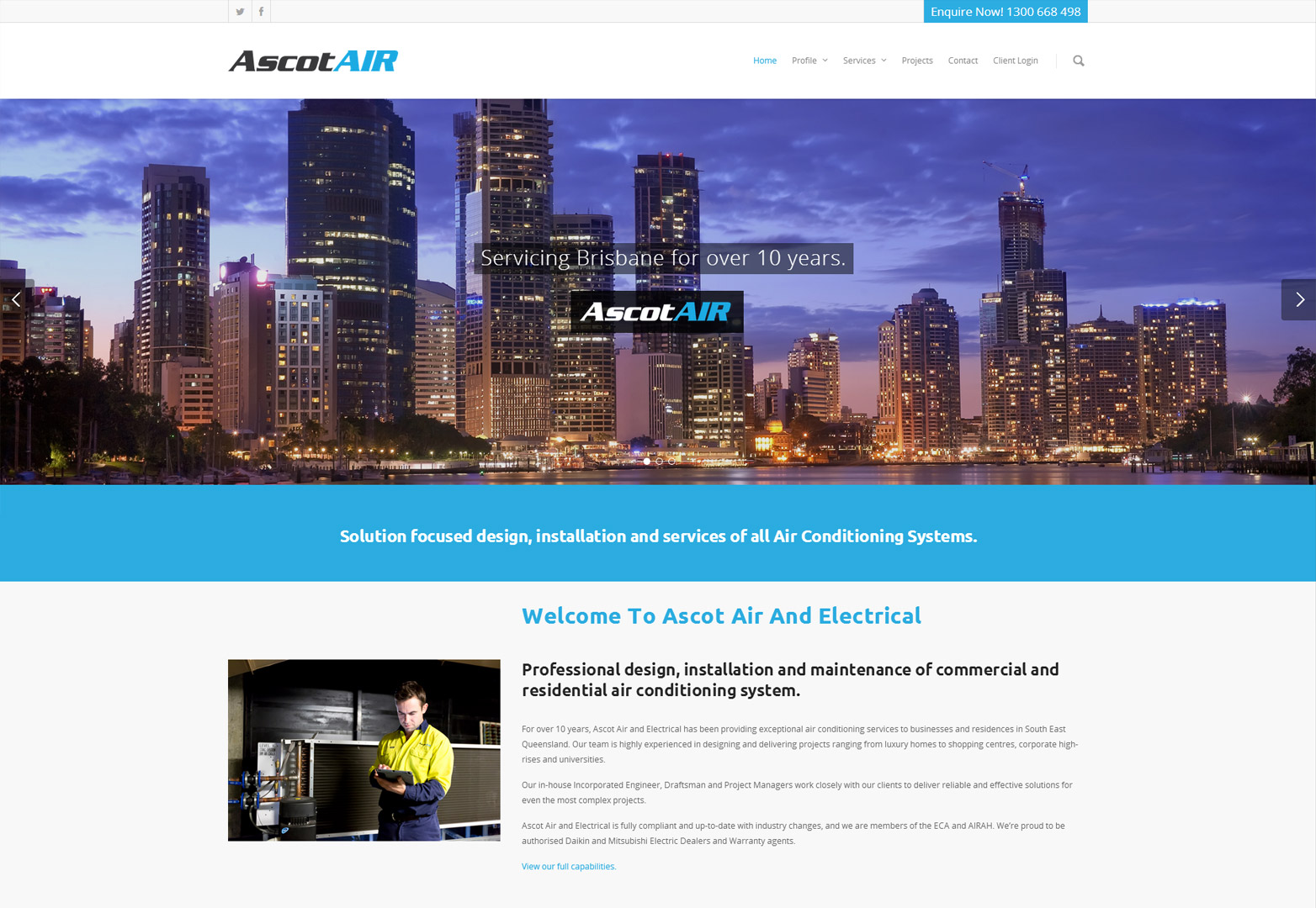 AscotAir homepage design in desktop view