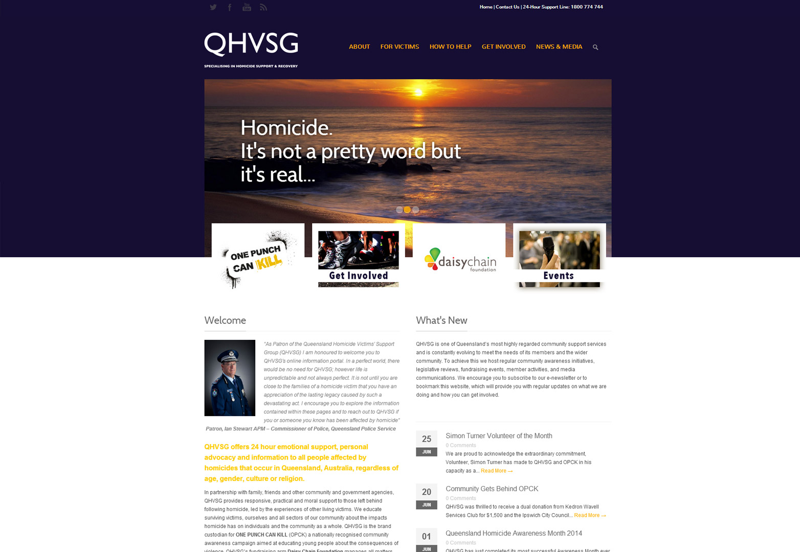 QHVSG homepage view for desktop