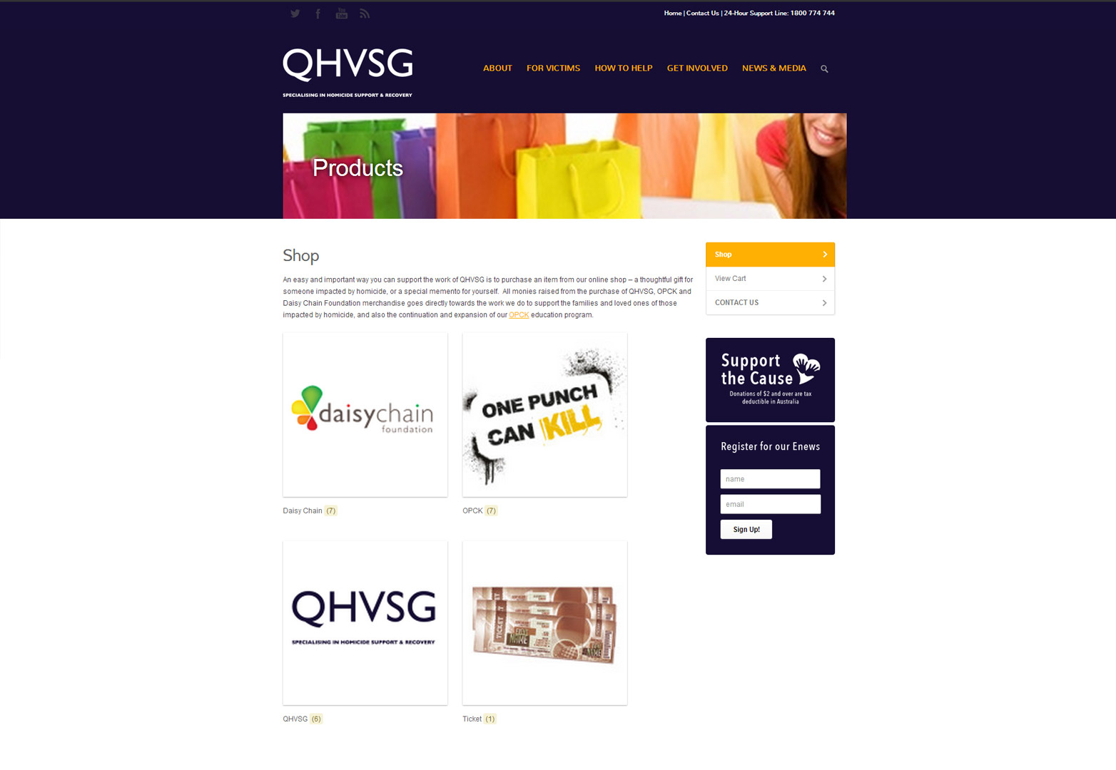 QHVSG Shop page desktop view