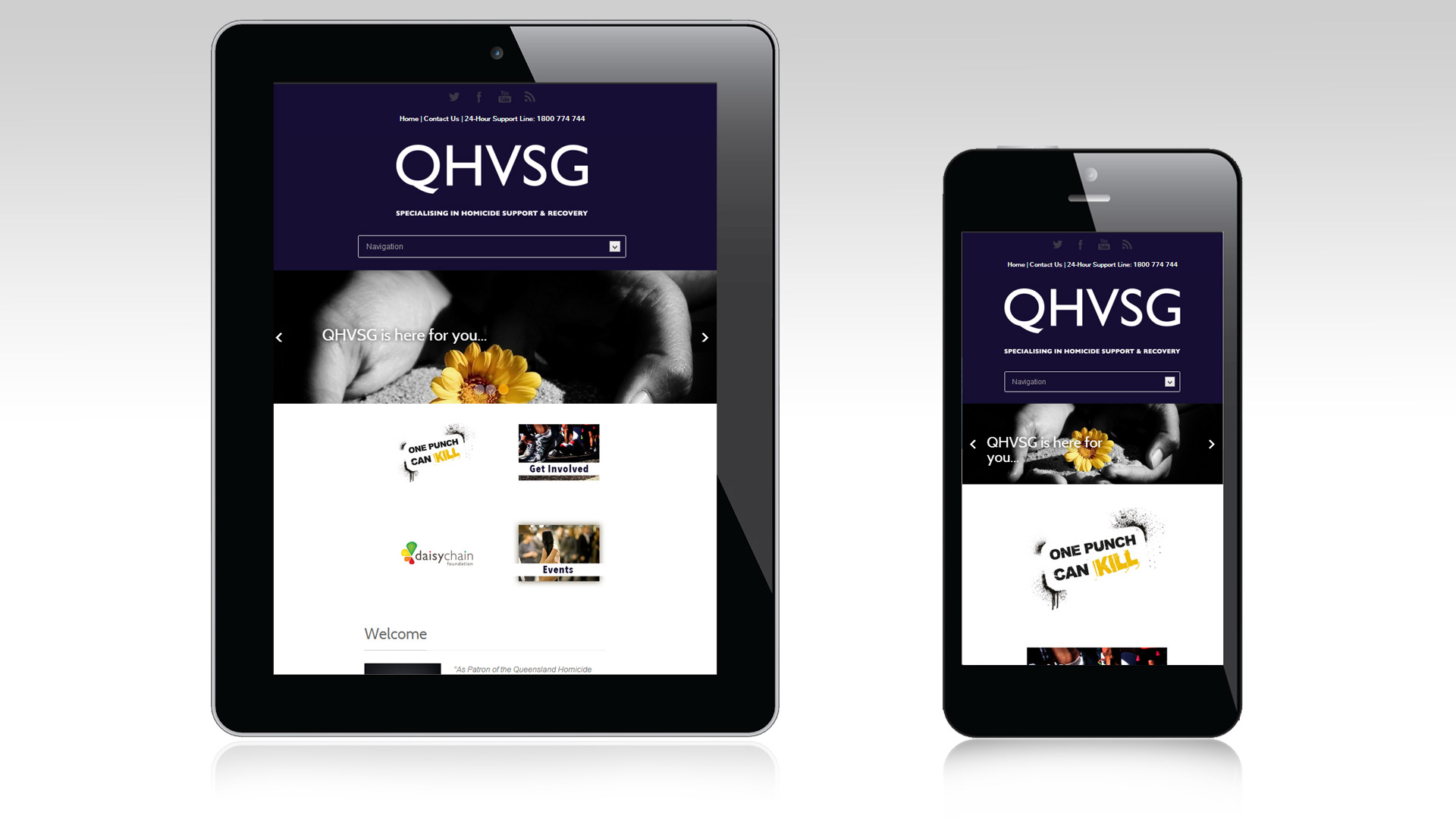 QHVSG homepage tablet and mobile views