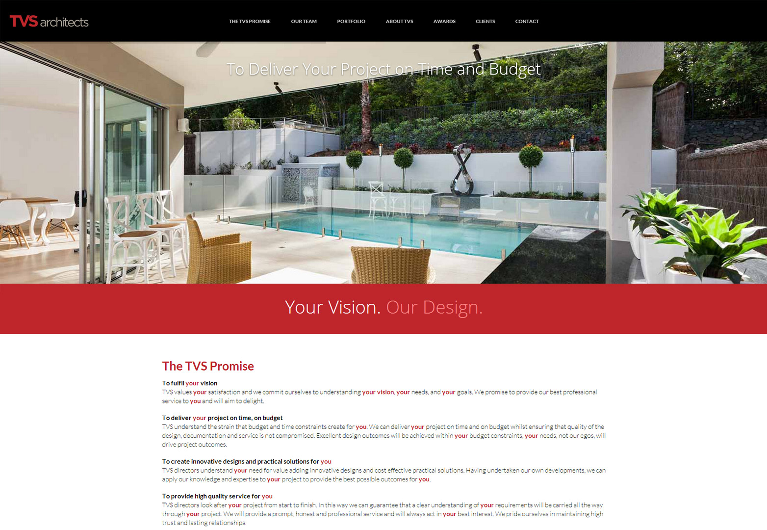 TVS Architects homepage