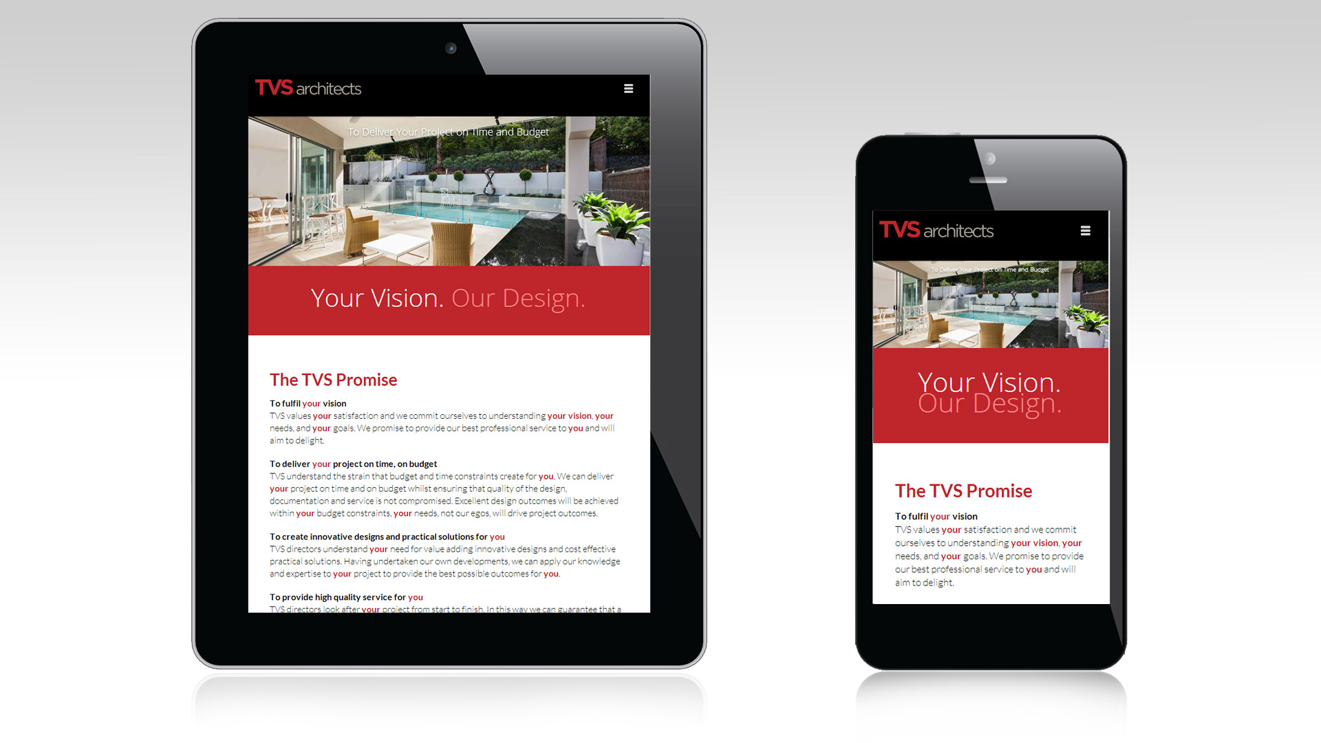 TVS Architects mobile and tablet views