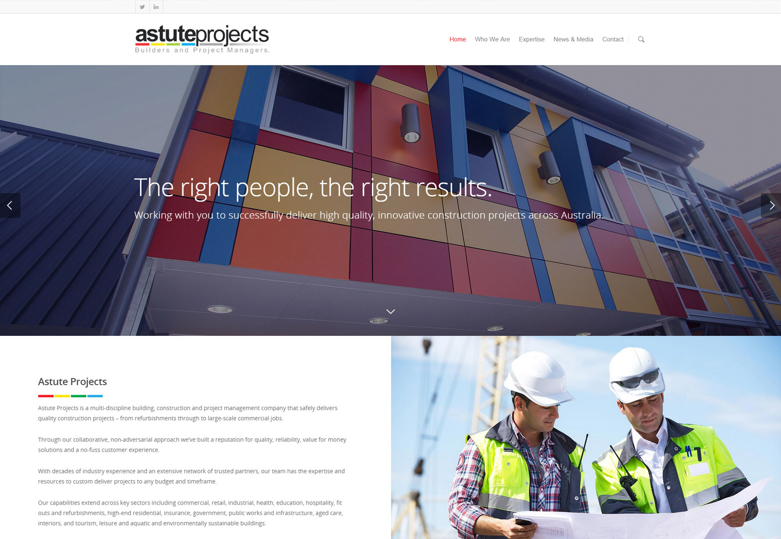webdesign astute projects homepage desktop view