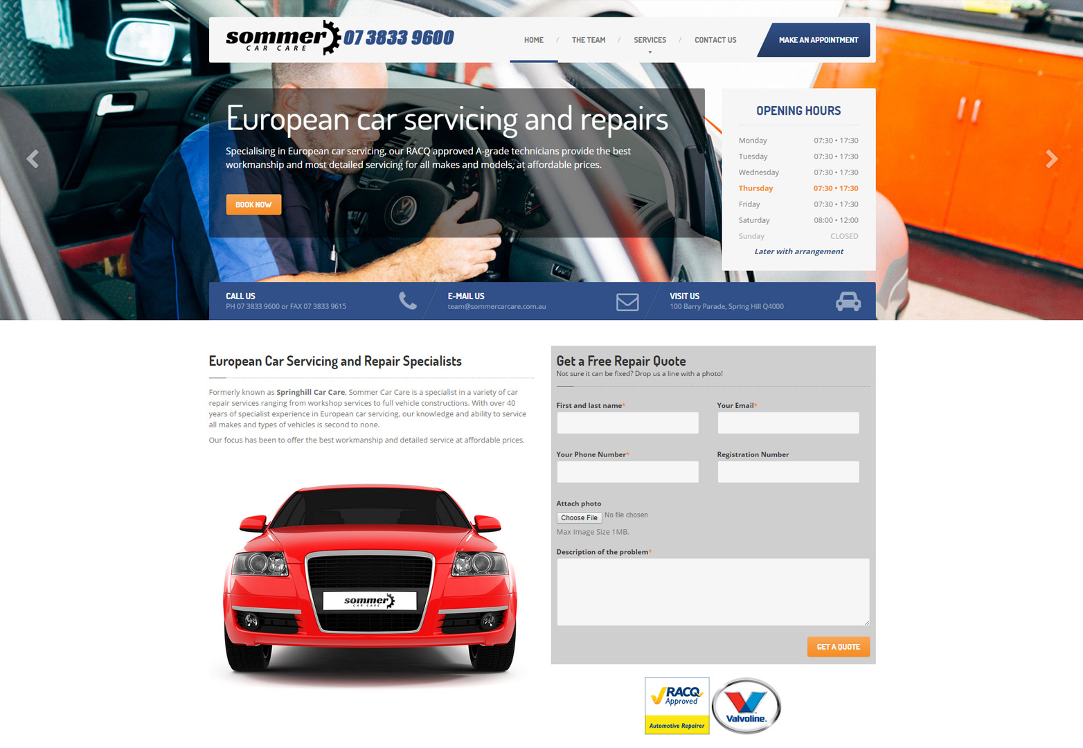Homepage desktop view for Sommer Car Care
