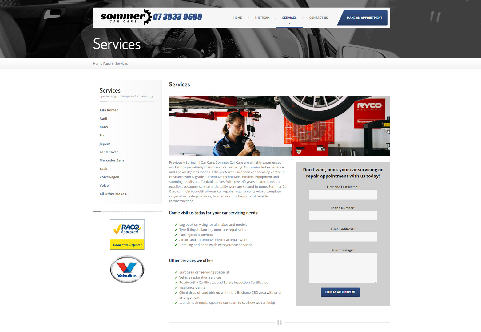 Sommer Car Care Services page desktop view