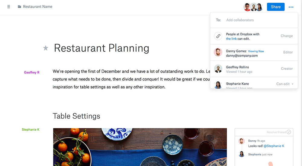 Working with Dropbox Paper