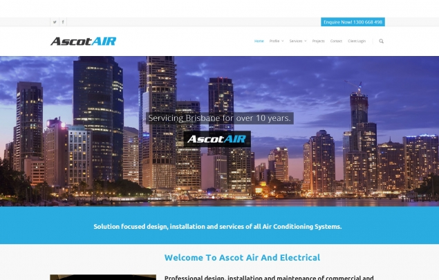 Homepage view of AscotAir