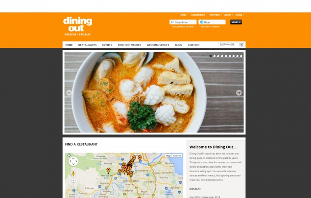 Diningout hompage website desktop view
